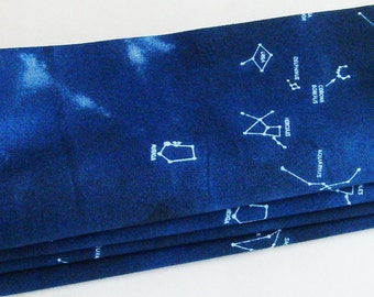Constellations Cotton Napkins / Set of 4 / Eco Friendly Indigo Blue & White Astronomy Table Decor / Unique Gift Under 50