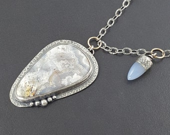 Crazy Lace Agate Necklace with Chalcedony Bead, blue gray white, large agate pendant, silver and gold, lace agate, blue stone, michele grady