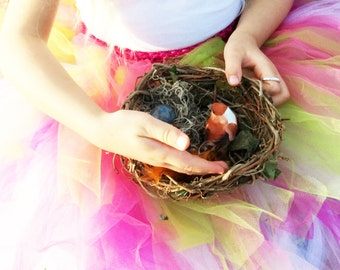 Ring Bearer Birds Nest with Ceramic Eggs, Woven, Baby Shower or Wedding Decor, Orange Blue OBB
