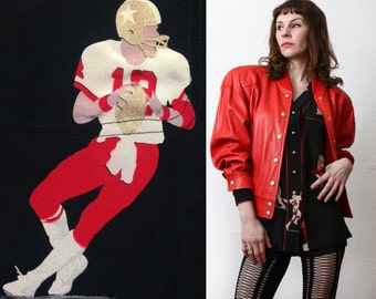 SALE Football Jacket and Top . 1980s Silk & Leather
