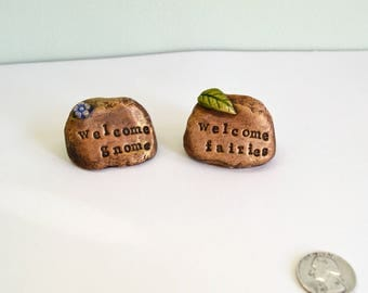Miniature Welcome stone for Fairy garden or Gnome: cast marble stone
