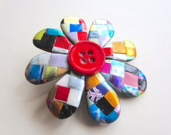 mosaic quilt flower pin with button center brooch