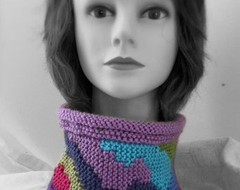 Crochet  statement cowlneck  neck warmer bright and colorful