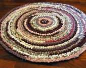 Purple, Pink, Peach, Lavender and White Circular Handmade Crocheted Runner Rag Rug ~ Made From Repurposed Sheets
