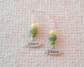 "Tibetan Silver ""PEACE"" Charms and Green and Yellow Bead Earrings with Sterling Silver Ear Wires"