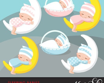 Baby Clipart. Pink and blue baby graphics. Baby Shower, new baby, baby in a basket, baby on the moon, sleeping baby illustration newborn art