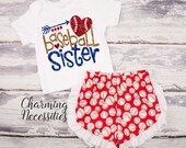 Baseball Sister Top and Ruffle Shorts Set, Fan, Baby Girl, Toddler Girl Clothes, Baby Girl Outfits, by Charming Necessities Red Royal