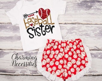 Baseball Sister Top and Ruffle Shorts Set, Fan, Baby Girl, Toddler Girl Clothes, Baby Girl Outfits, by Charming Necessities Red