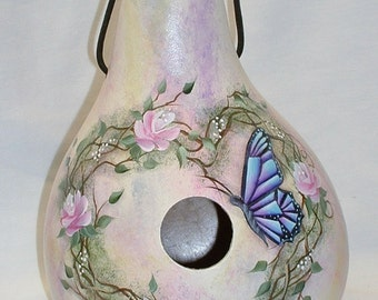 Butterfly, Grapevine and Roses Gourd Birdhouse - Hand Painted
