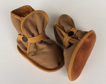 Awesome Booties - Goldenrod, Mustard - Denim, Fleece, Ultrasuede - Baby Boy, Girl, Best Booies Ever! Boots, Slippers, Shoes