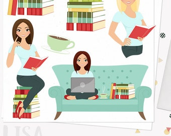 Book lover woman character clipart, teacher clipart set with blonde, brunette and auburn hair (Lisa L151)
