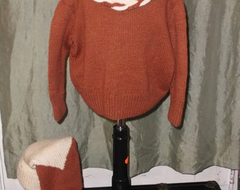 Boy's 1940s Vintage Sweater and Matching Stocking Cap 30 Inch Chest