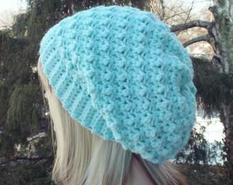 Mint Green Crochet Hat, womens slouchy beanie, slouchy hat, oversized slouch beanie, chunky hat, winter hat, slouch hat