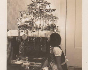 Original Vintage Photograph Snapshot Girl Sitting on Floor Looking at Christmas Tree 1930s-40s