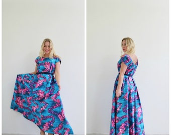 1960s Blue Dawn Hawaiian Dress  /// Size Extra Small to Small