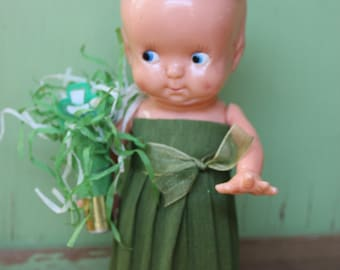 Vintage Style St. Patricks Day Doll, Larger Leprechaun Green Party Blower