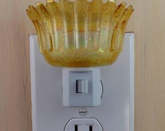 Amber Carnival Glass Scalloped Rim Panel Pattern Candleholder Custom Made Night Light With LED Lamp
