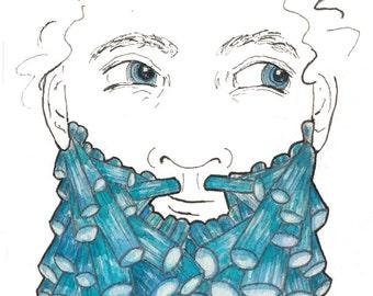 Original Crystal Art Original Blue Crystal Decor Original Blue Crystal Beard Gift for Him Blue Tourmaline Crystal Beard Gift for Bearded Man
