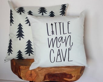 Little Man Cave Hand drawn Nursery Pillow Mountain Arrow Adventure Explore Forest Theme 16 x16 Trees Handwritten