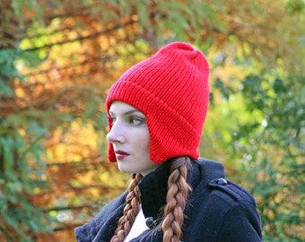 Red Ear Flap Hat For Men Women, Girls, Boys Or Teens Ready to Ship  Gift Stocking Stuffer
