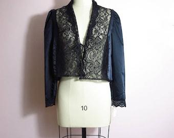 Vintage Bed Jacket - 1980s Cira Black Satin Bed Jacket M/L Deadstock - Black Bed Jacket