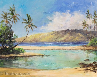 ISLAND ATTITUDE Original 12x16 Palette Knife Oil Painting Art Maui Hawaii Ocean Palm Tree Hawaiian Cove Tropical Tropics Paradise Tranquil
