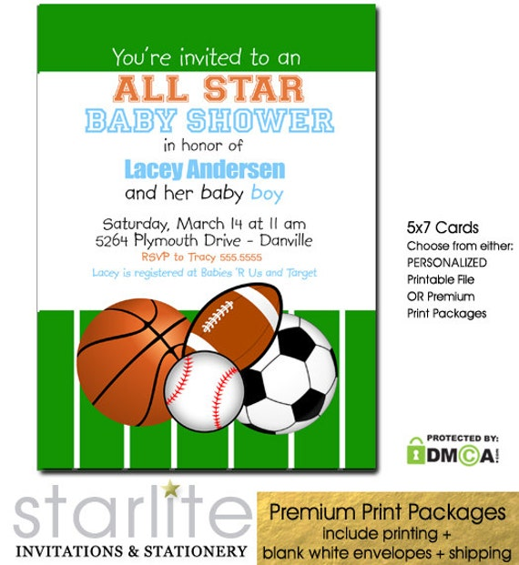Sports All Star Boy Baby Shower Invitation Baseball Basketball Soccer Football Printable | Printed