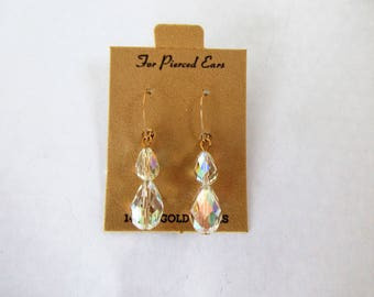 Dangling Drop CRYSTAL Pierced EARRINGS-14K Yellow Gold Wires
