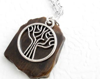 Real Fossil Necklace, Petrified Wood Pendant, Men's Choker, Science Jewelry, Tree Charm