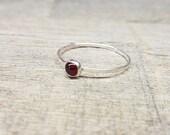 Garnet Ring Sterling Silver Stacking Ring Mothers Ring