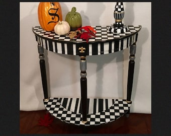 Whimsical Painted Furniture, Half moon table, Crescent table, Painted Console Table, harlequin