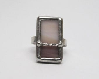 Lilac Blush - Sterling Silver Stained Glass Ring - Size 7.5