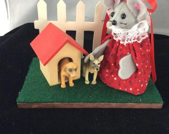 Mouse with her Dogs and a Dog House. DISCONTINUED
