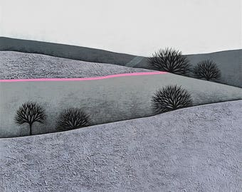 "Intermission 7 - Original Contemporary Art - 16x16"" Winter Landscape Painting - Neon Pink - by Natasha Newton"