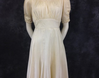 1940's ivory rayon and lace dress