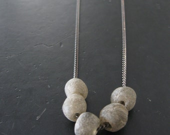 Long Recycled Glass Bead Necklace - Grey and Oxidized Brass