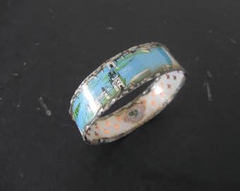 Recycled Tin Bangle Bracelet No.1 - Medium Size - Turquoise and White