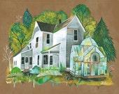 Overgrown Art Print | Rustic Wall Art | Farmhouse Painting | Katie Daisy | 8x10 | 11x14