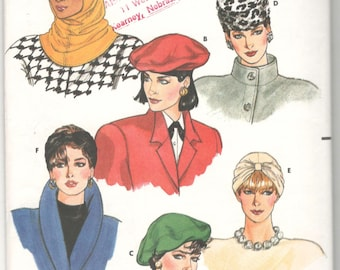Butterick 4065 1980s Hats Pattern Pillbox Hat Turban Hooded Cowl Beret Pattern  Size S M L  Womens Sewing Pattern Size One Size UNCUT