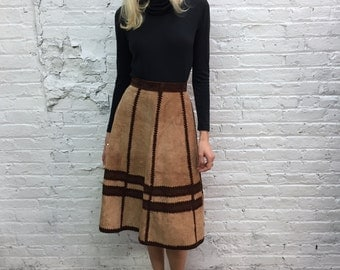 vintage 70s brown suede a line skirt / 1970s tan patchwork high waist suede skirt / crochet paneled suede skirt