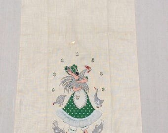 Vintage Towel Sweet Farm Girl & Rooster Polka Dots and 3D Ruffle