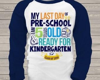 Pre-School last day shirt - ready for kindergarten RAGLAN style pre-school graduation shirt MSCL-001-R