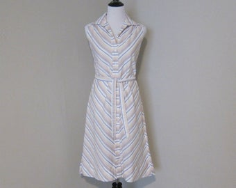 1980s Summer Fashion Dress, Cute and Cool Sleeveless Dress in White Stripes by Country Miss, With Belt, Size 10, Vintage Summer Party Dress