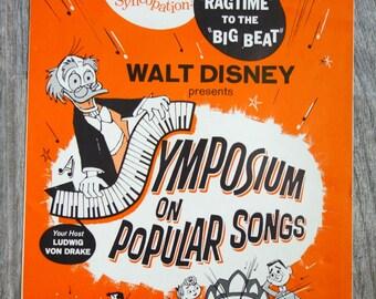 Vintage Disney Memorabilia, 1962 Symposium on Popular Songs National Screen Service Advertisement, 1960s Movie Promotion Publicity Material