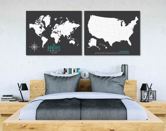 Modern Map, Travel Map USA, World Map Poster, Map Print, Personalized Map Housewarming Gift, Custom Map Art, Traveler Gift // H-I20-2PS AA4