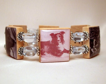 BORDER COLLIE Bracelet / SCRABBLE  Jewelry / Upcycled Handmade / Dog Lover - 2