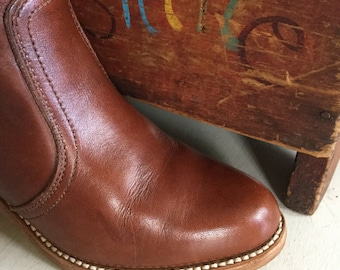 Vintage Tall Leather Dexter Boots With Frye Storage Bag Brown Made in USA SZ 6 1/2