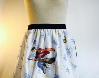 """Harry Potter Ladies Skirt from upcycled vintage fabric - 30-36"""" waist"""