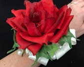 Red Rose, Ivy and Pearls Prom Corsage and Boutonniere Set