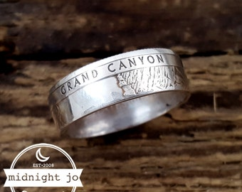 Silver Coin Ring Grand Canyon National Park Quarter Ring Double Sided Coin Ring Silver Arizona Coin Ring